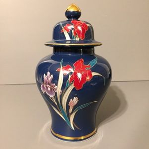 Other - Japan Fine China Blue Red Floral Urn